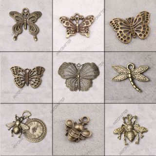 Antique Brass Vintage Insect Butterfly Jewelry Findings Charms Pendant