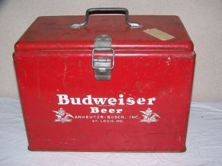 Vintage 1940s Budweiser Beer Metal Picnic Cooler Sign Very Neat No