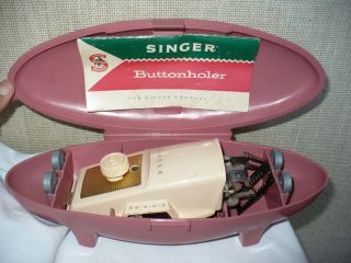 SINGER Automatic Buttonhole Maker Sewing Machine Attachment Pink Case