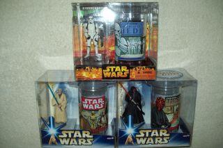 Star Wars Stormtrooper Darth Maul Obi Wan Kenobi Figure and Cup Sets x