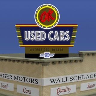 OK Used Cars Animated Billboard Neon Sign Flashes Blinks More for N HO