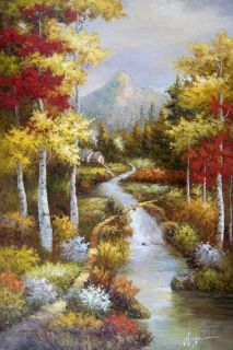 Woods Cabin Stream Fall Trees Landscape LG Oil Painting