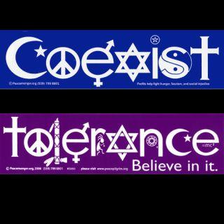 Coexist Bumper Sticker and Tolerance Bumper Sticker