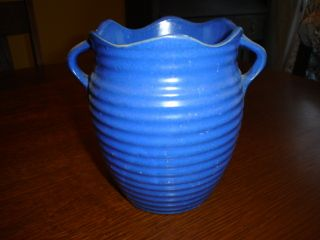 Vintage Burley Winter Art Pottery Royal Blue Ribbed 6 Vase