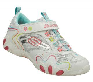 Moonbuggy Youth Girls White Leather Bungee Lace Slip on Shoe