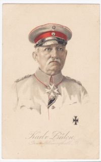 German Field Marshall Karl Von Bulow 1910s Colored WWI Postcard