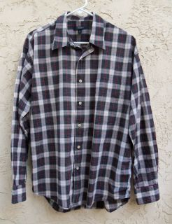 BURBERRY LONDON MENS sz MEDIUM WINDOWPANE SHIRT~ 48 CHEST