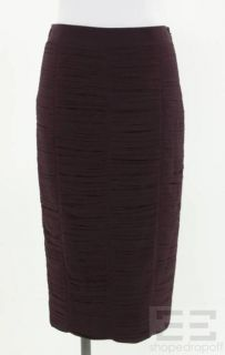 Burberry London Eggplant Purple Silk Ruched Pencil Skirt Size US 6