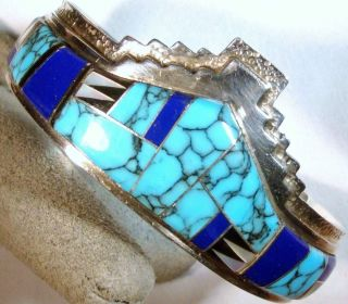 Sterling Silver Bracelet Inlaid Turquoise Lapis Mother of Pearl Onyx