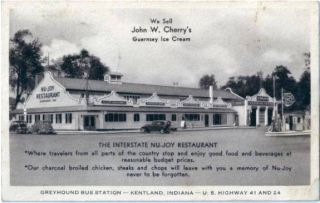 1930s Kentalnd in Nu Joy Greyhound Bus Station Postcard