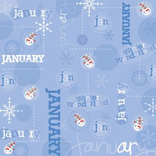 January Scrapbook Paper CI Month Calendar Collection