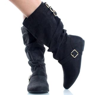 Suede Buckle Slouch Round Toe Womens Flat Flat Mid Calf Boots Size 7.5