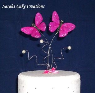 Pink Butterfly Cake Topper with White Pearls  Wedding Birthday