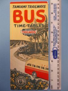Tamiami Trailways FL Time Tables Natl Trailways Bus System 1949