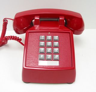Retro Red Push Button Desk Telephone Phone Vintage Look