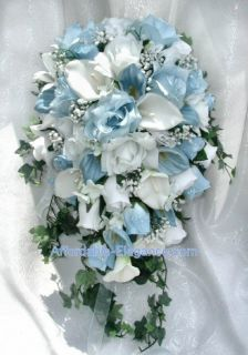 White CALLA LILY ROSES Bridal Cascade BOUQUET Silk Wedding Flowers