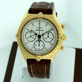 Breitling Callisto 18K Yellow Gold Chronograph RARE Lemania 36mm Gent