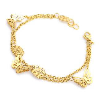 Steel Gold Ladies Triple Butterfly Bangle Bracelet 7 7 WB024