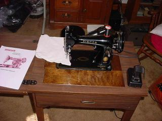 Singer 99K Sewing Machine and Cabinet Buttonhole Attachment