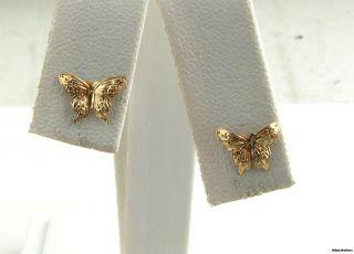 Butterfly Earrings Solid 14k Yellow Gold Cute Small Stud Pierced Fine