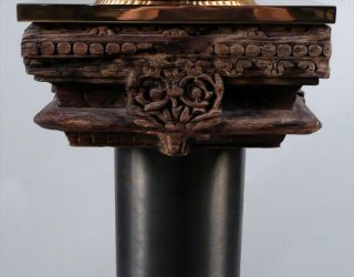 Neoclassical Carved Wood column w/ Modern Steel Post ca. 18 19th c