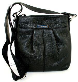 Calvin Klein Designer Black Leather Crossbody Bag Handbag Purse