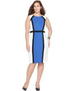 Calvin Klein NEW Multi Color Colorblock Sheath Wear to Work Dress Plus