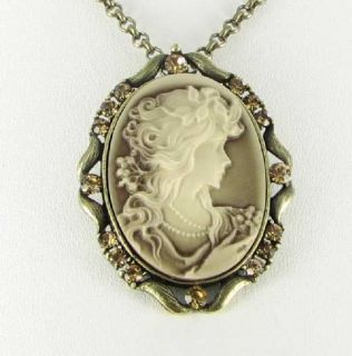 New Lady Cameo Necklace Brown Cream Resin Amber Rhinestones Gold Tone