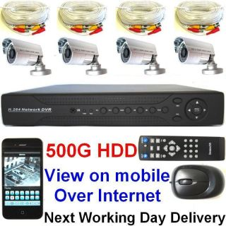 Home Business CCTV Security System with 4 CH DVR 4XCOLOR IR Cameras