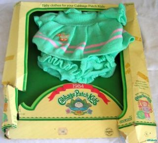 Vtg 1984 Cabbage Patch Kids Baby Clothes Pastel Green & Pink Knitted