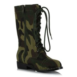 Camouflage Military Soldier Army Costume Lace Up Laces Ankle Boots