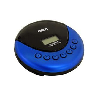 New RCA Portable Walkman CD Player Radio Blue Earphones