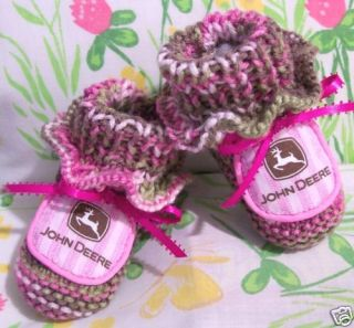 JOHN DEERE BABY GIRL TRUE PINK CAMOUFLAGE COLOR BOOTIES AUTHENIC CAMO