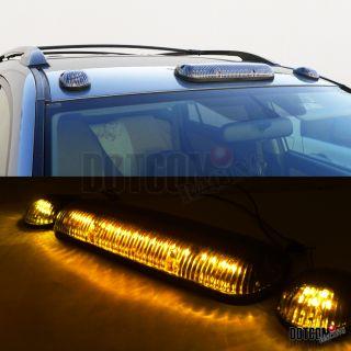 Clear 3 Pcs LED Cab Roof Running Marker Lights Truck SUV Off Road Set