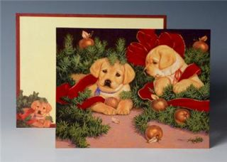 DOG LOVERS YELLOW GOLDEN LAB PUPPIES DELUXE CHRISTMAS CARDS BY LANG 6