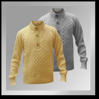 Mens Cable Knitted Jumper 3 Buttons Cream Grey Autumn Winter New Tokyo