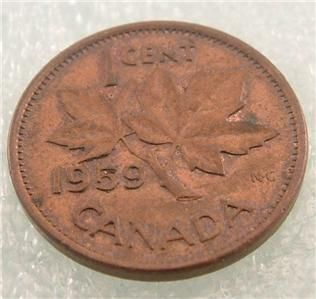 1959 Canada Canadian Penny 1 One Cent Small Cent Coin