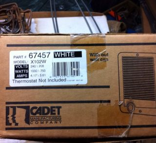 Cadet Manufacturing X102W Wall Heater