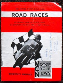 Cadwell Park Motorcycle Road Race Programme 21 May 1966