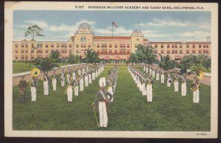 Postcard Hollywood Florida FL Riverside Military Academy Cadet Band