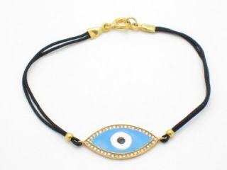 Evil Eye Kabbalah 18kt Gold Silver Diamond Set Bracelet
