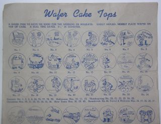 Mickey Mouse 1954 Bakery Wafer Cake Tops Decoration Display Sign