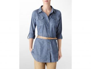 Calvin Klein Womens Chambray Roll Up Belted Tunic