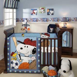 Snoopy Dog 5pc Blue Sports Ball Soccer Bird Nursery Baby Boy Crib