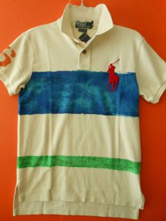 Polo Ralph Lauren Mens Custom Fit Multi Stripe Nautical Big Pony Polo