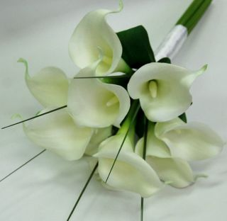 Latex White Cream Calla Lily Wedding Bouquet Artificial Flowers Posy