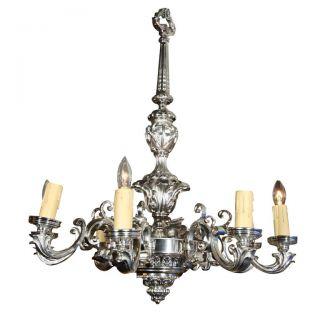 Silver Overlay Solid Bronze Candelabra Chandelier