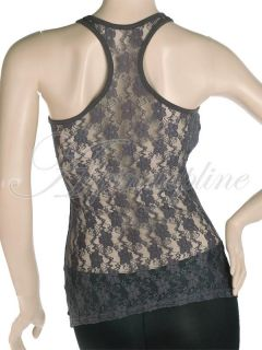Womens Stretch Cami Camisole Tank Top Vest Sexy Floral Mesh Lace Back