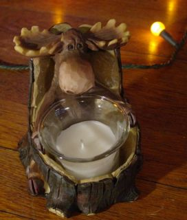 Carved Tree Moose Candle Holder Log Cabin Rustic Lodge Home Decor New