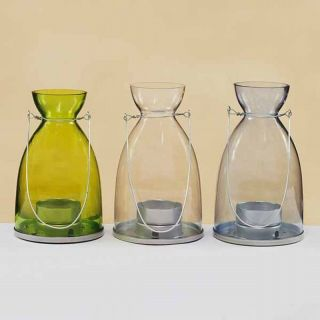 Set 3 Hanging Lantern Glass Tea Light Candle Holder
